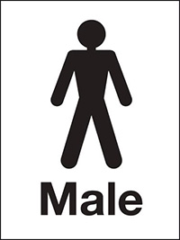 200x150mm Male Washroom sign - rigid
