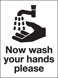 200x150mm Now wash your hands please - Self Adhesive