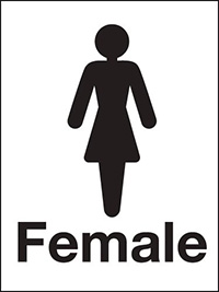 200x150mm Female Washroom sign - rigid