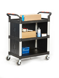 Proplaz  Shelf Trolley - 3 Shelf Enclosed Sides 750L