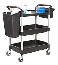 Proplaz  Shelf Trolley with Deep Trays - 3 Shelf Complete with Buckets