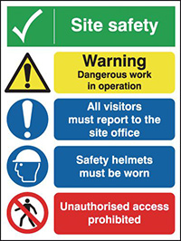 Site Safety Warning Dangerous  400x300mm 3mm Aluminium Safety Sign
