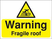 300x400mm Warning Fragile roof Construction Sign - Rigid