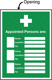 Appointed Persons Are  Name/Location/Telephone no  Insert Sign 327x240mm  Safety Sign