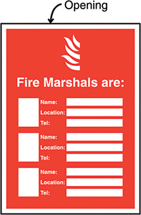 Fire Marshals Are  Name/Location/Telephone no  Insert Sign 327x240mm  Safety Sign