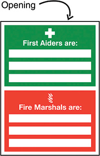 First Aiders Are/Fire Marshals Are Insert Sign 327x240mm  Safety Sign