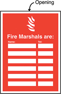 Fire Marshals Are  Name   Telephone no  Insert Sign 327x240mm  Safety Sign