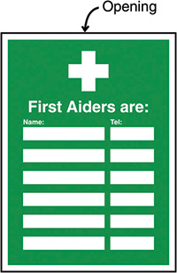 First Aiders Are  Name   Telephone no  Insert Sign 327x240mm  Safety Sign