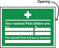 Your Nearest First Aiders Are/Nearest First Aid Box Insert Sign 240x327mm  Safety Sign