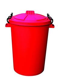 85 Litre Clip Lid Bin - Red