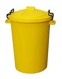 85 Litre Clip Lid Bin - Yellow