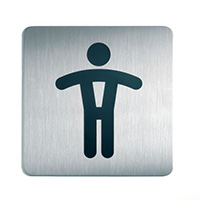 Men - Square picto 150x150mm Stainless Steel Safety Sign