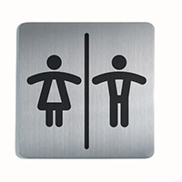 Ladies/Men - Square picto 150x150mm Stainless Steel Safety Sign