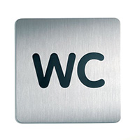 WC - Square picto 150x150mm Stainless Steel Safety Sign