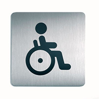 WC Disabled - Square picto 150x150mm Stainless Steel Safety Sign