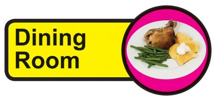 Dining Room Dementia Sign  210x480mm 1.2mm Rigid Plastic Safety Sign