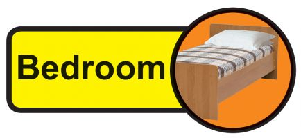 Bedroom Dementia Sign  210x480mm 1.2mm Rigid Plastic Safety Sign