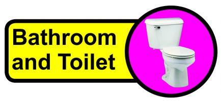Bathroom   Toilet Dementia Sign 210x480mm 1.2mm Rigid Plastic Safety Sign