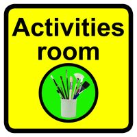 Activities room Dementia Sign  300x300mm 1.2mm Rigid Plastic Safety Sign