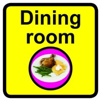 Dining Room Dementia Sign  300x300mm 1.2mm Rigid Plastic Safety Sign