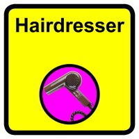 Hairdresser Dementia Sign  300x300mm 1.2mm Rigid Plastic Safety Sign