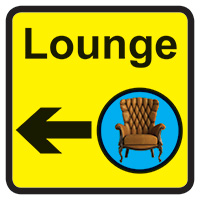 Lounge Dementia Sign Arrow Left 300x300mm 1.2mm Rigid Plastic Safety Sign