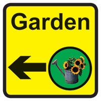 Garden Dementia Sign Arrow Left 300x300mm 1.2mm Rigid Plastic Safety Sign