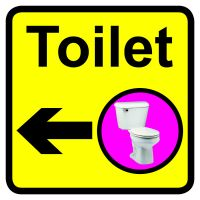 Toilet Dementia Sign Arrow Left 300x300mm 1.2mm Rigid Plastic Safety Sign