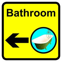 Bathroom Dementia Sign Arrow Left 300x300mm 1.2mm Rigid Plastic Safety Sign