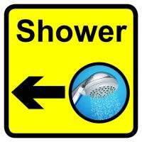 Shower Dementia Sign Arrow Left 300x300mm 1.2mm Rigid Plastic Safety Sign