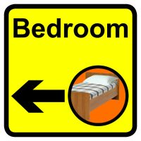 Bedroom Dementia Sign Arrow Left 300x300mm 1.2mm Rigid Plastic Safety Sign