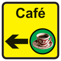 Cafe Dementia Sign Arrow Left 300x300mm 1.2mm Rigid Plastic Safety Sign