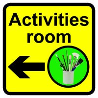 Activities room Dementia Sign Arrow Left 300x300mm 1.2mm Rigid Plastic Safety Sign