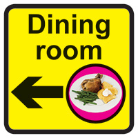 Dining Room Dementia Sign Arrow Left 300x300mm 1.2mm Rigid Plastic Safety Sign