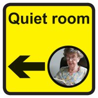 Quiet room Dementia Sign Arrow Left 300x300mm 1.2mm Rigid Plastic Safety Sign