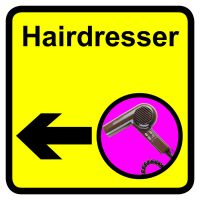 Hairdresser Dementia Sign Arrow Left 300x300mm 1.2mm Rigid Plastic Safety Sign