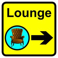 Lounge Dementia Sign Arrow Right 300x300mm 1.2mm Rigid Plastic Safety Sign