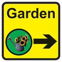Garden Dementia Sign Arrow Right 300x300mm 1.2mm Rigid Plastic Safety Sign
