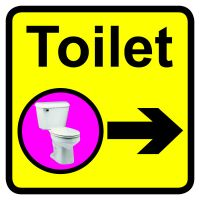 Toilet Dementia Sign Arrow Right 300x300mm 1.2mm Rigid Plastic Safety Sign
