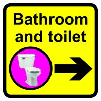 Bathroom   Toilet Dementia Sign Arrow Right 300x300mm 1.2mm Rigid Plastic Safety Sign