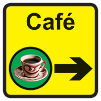 Cafe Dementia Sign Arrow Right 300x300mm 1.2mm Rigid Plastic Safety Sign