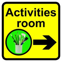 Activities room Dementia Sign Arrow Right 300x300mm 1.2mm Rigid Plastic Safety Sign