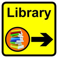 Library Dementia Sign Arrow Right 300x300mm 1.2mm Rigid Plastic Safety Sign