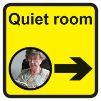 Quiet room Dementia Sign Arrow Right 300x300mm 1.2mm Rigid Plastic Safety Sign