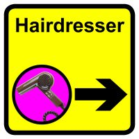 Hairdresser Dementia Sign Arrow Right 300x300mm 1.2mm Rigid Plastic Safety Sign