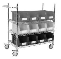 Chrome Wire Trolley with Grey Bins