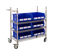 Chrome Wire Trolley with Blue Bins
