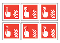 Fire Alarm Call Point Symbols  100mm Self Adhesive Vinyl Safety Sign Pack of 30