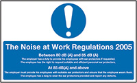 The Noise At Work Regulations 2005 300x500mm 1.2mm Rigid Plastic Safety Sign