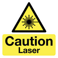 Caution Laser  50x50mm Self Adhesive Vinyl Safety Sign Pack of 10